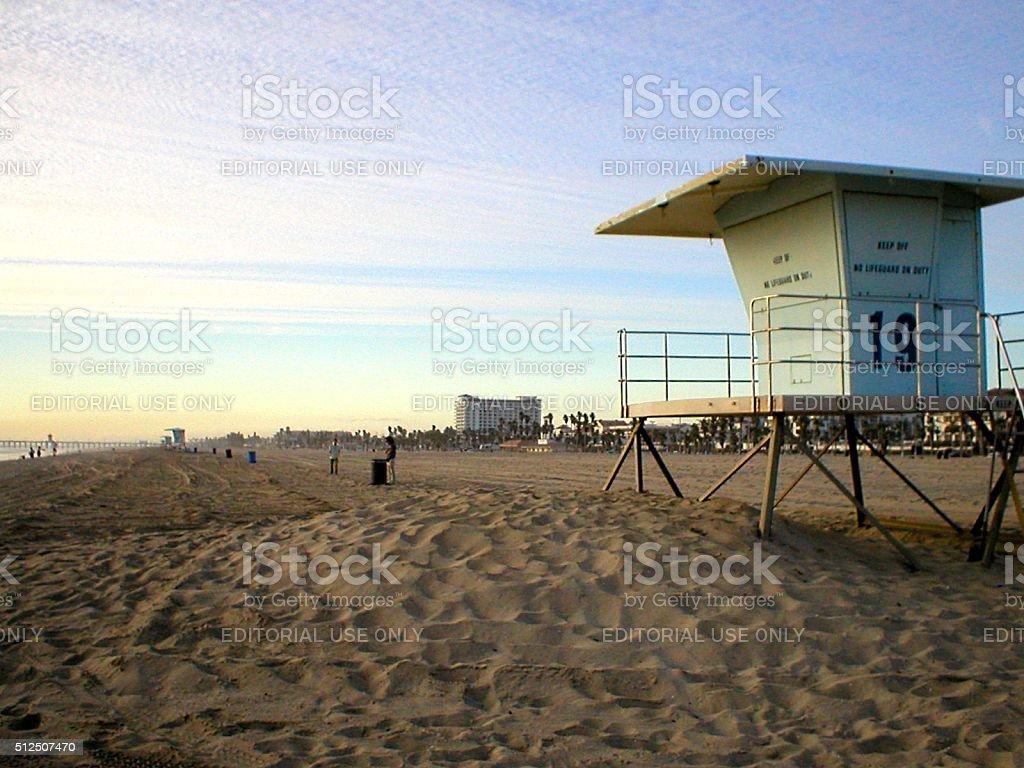 Huntington beach at sunset los angeles california royalty free stock photo