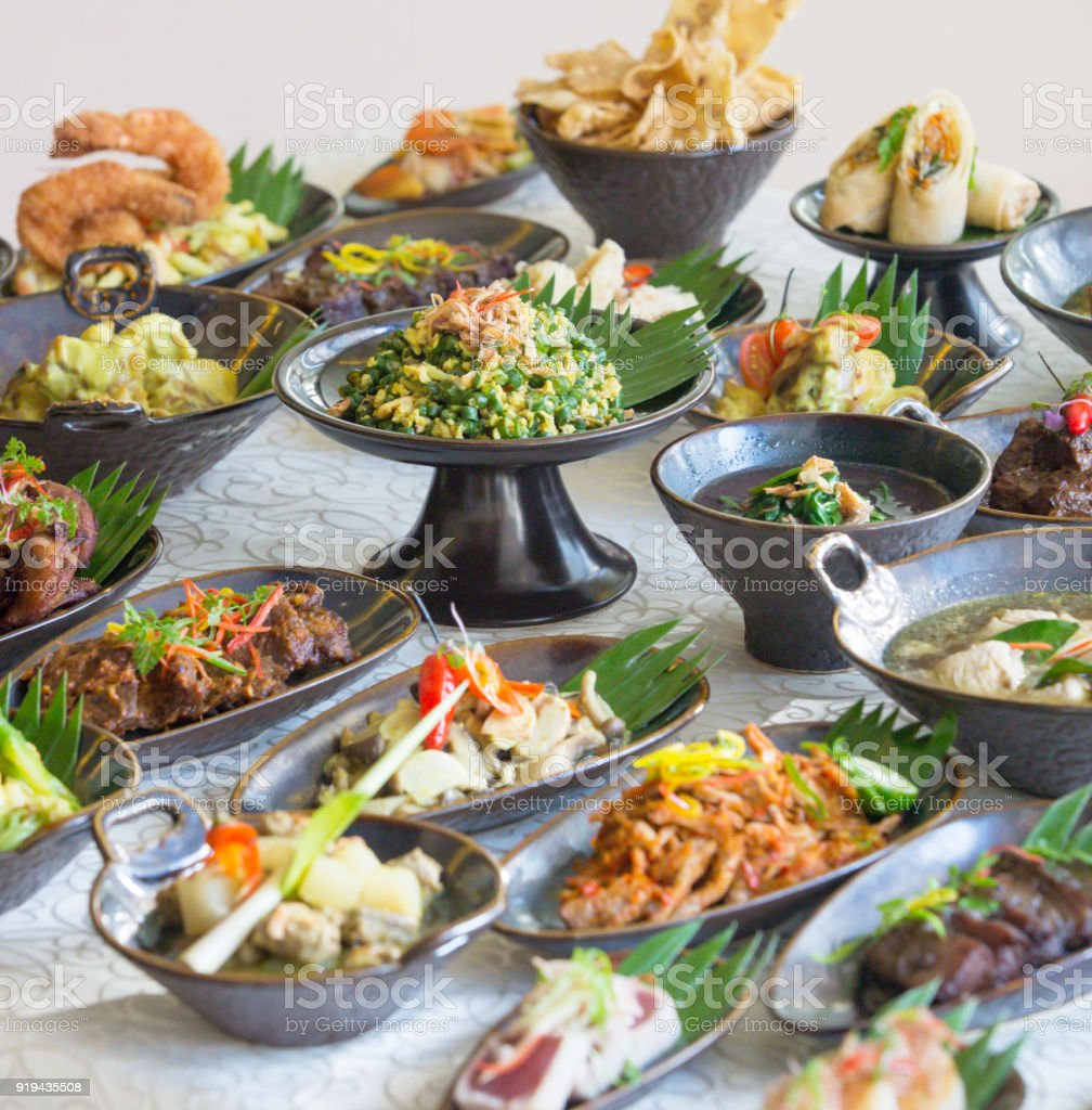 Cuisine Bali Indonesian Cuisine Many Traditional Balinese Dishes On The Table