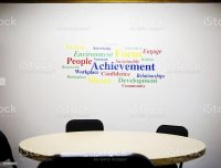 Inspirational Word Wall Art In Office Meeting Room Stock ...
