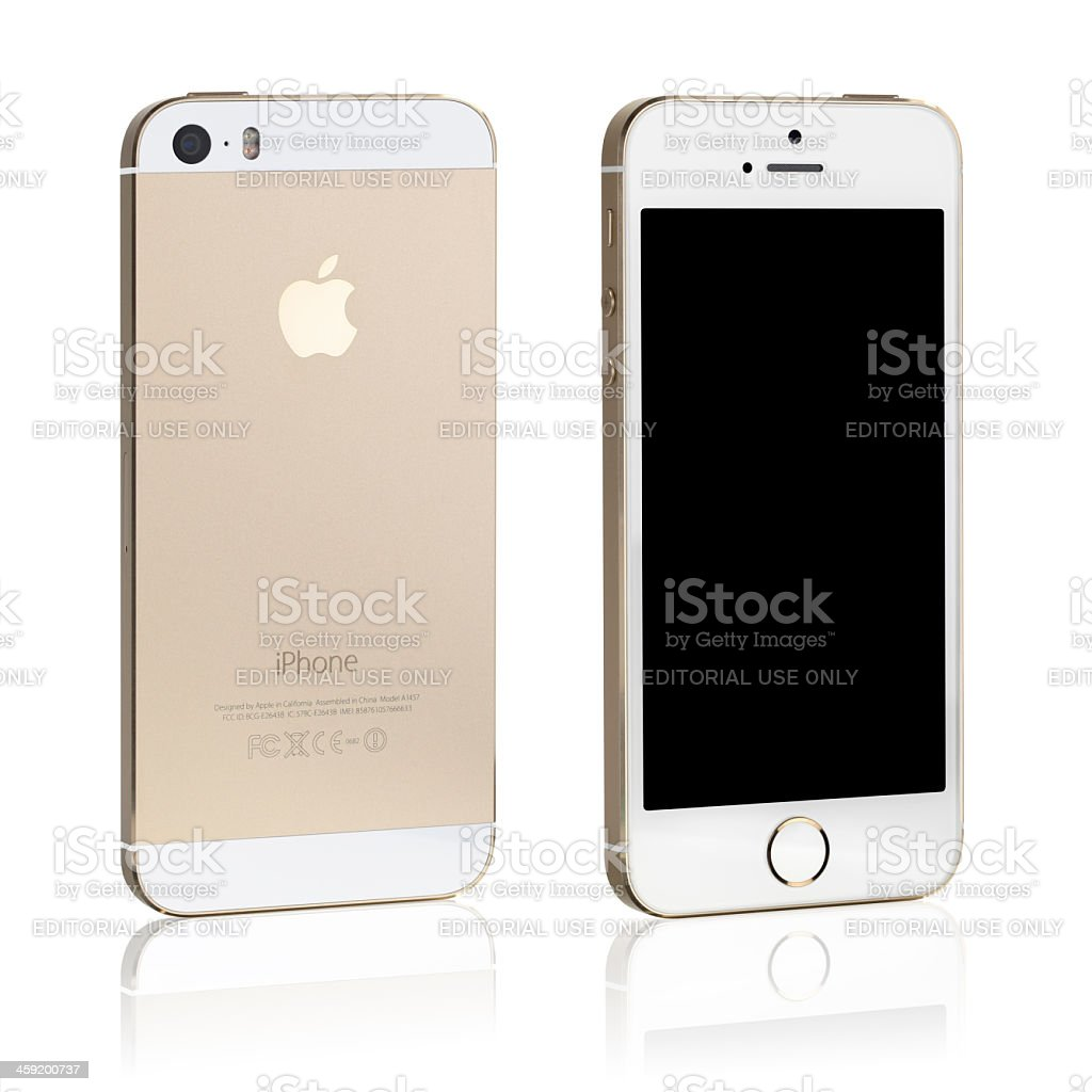 Iphone 5 S Libre Iphone 5s Oro Vista Frontal Y Posterior Stock Foto E Imagen De