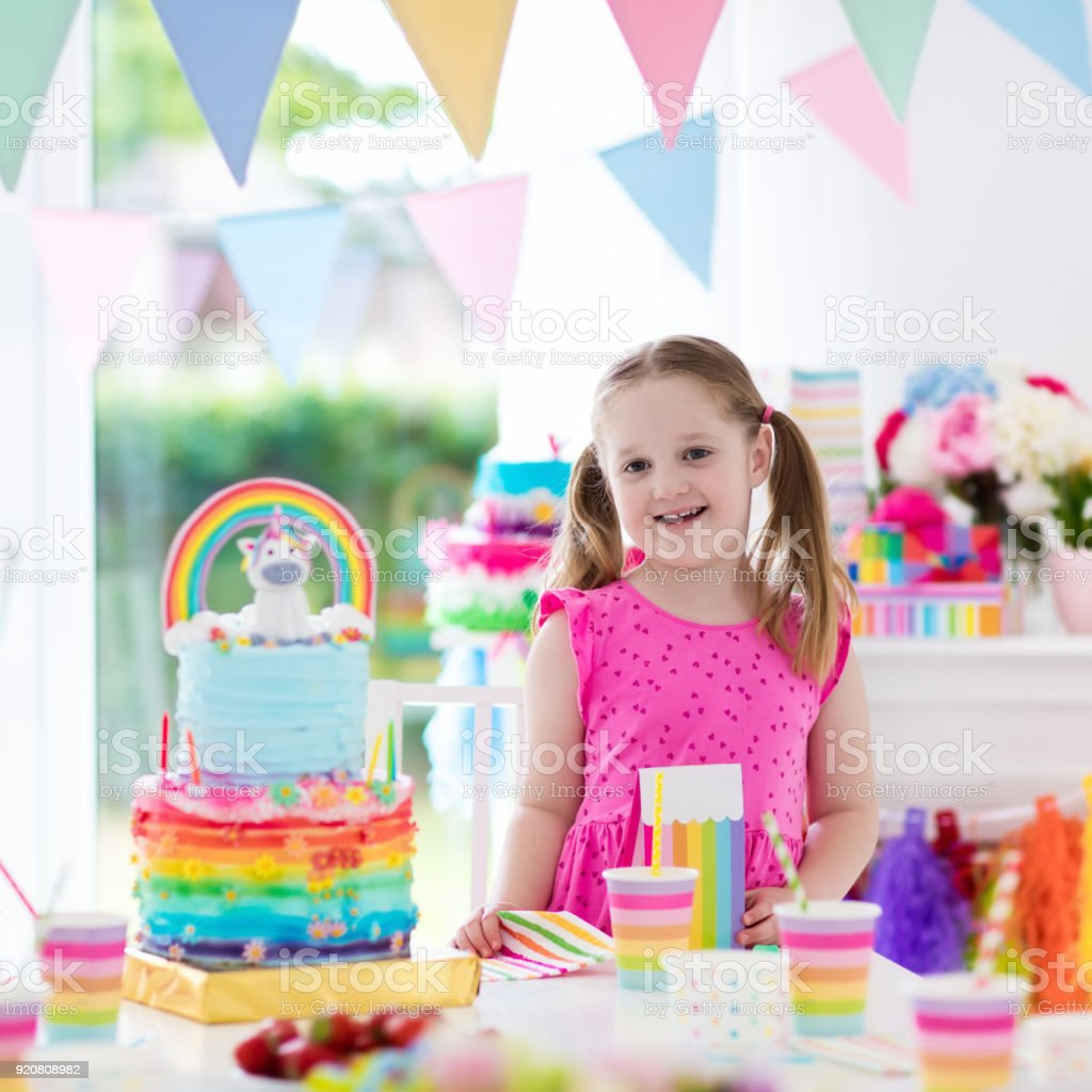 Little Kid Birthday Party Kids Birthday Party Little Girl With Cake Stock Photo More