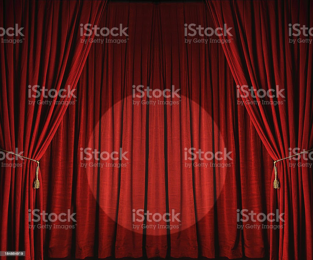 Audience auditorium curtain curtain tie event large red theatre curtains with spotlight royalty free stock photo