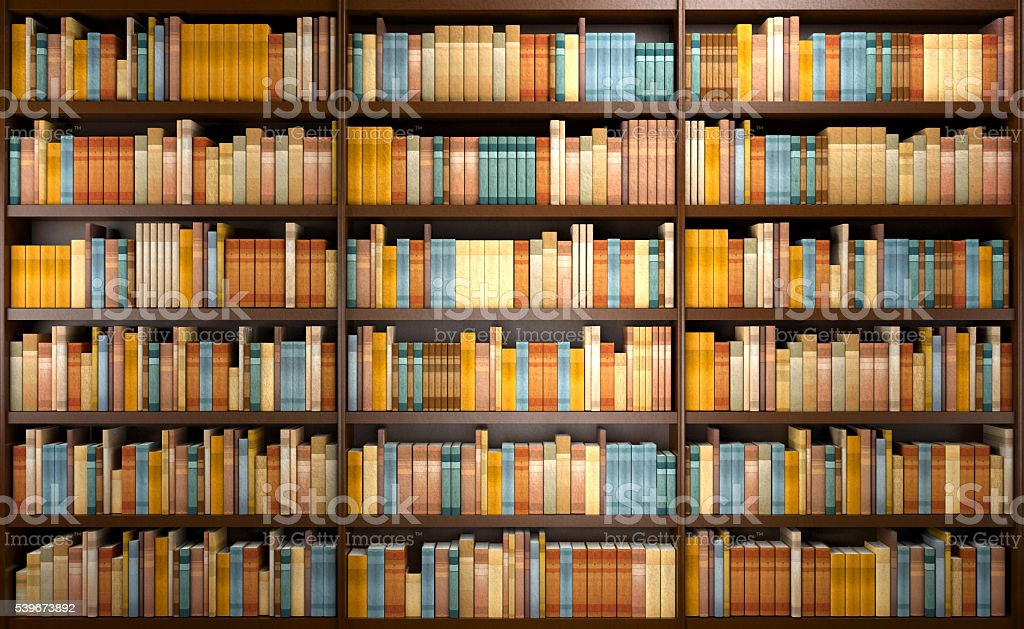 Library Background With Wooden Shelves Full Of Books Stock