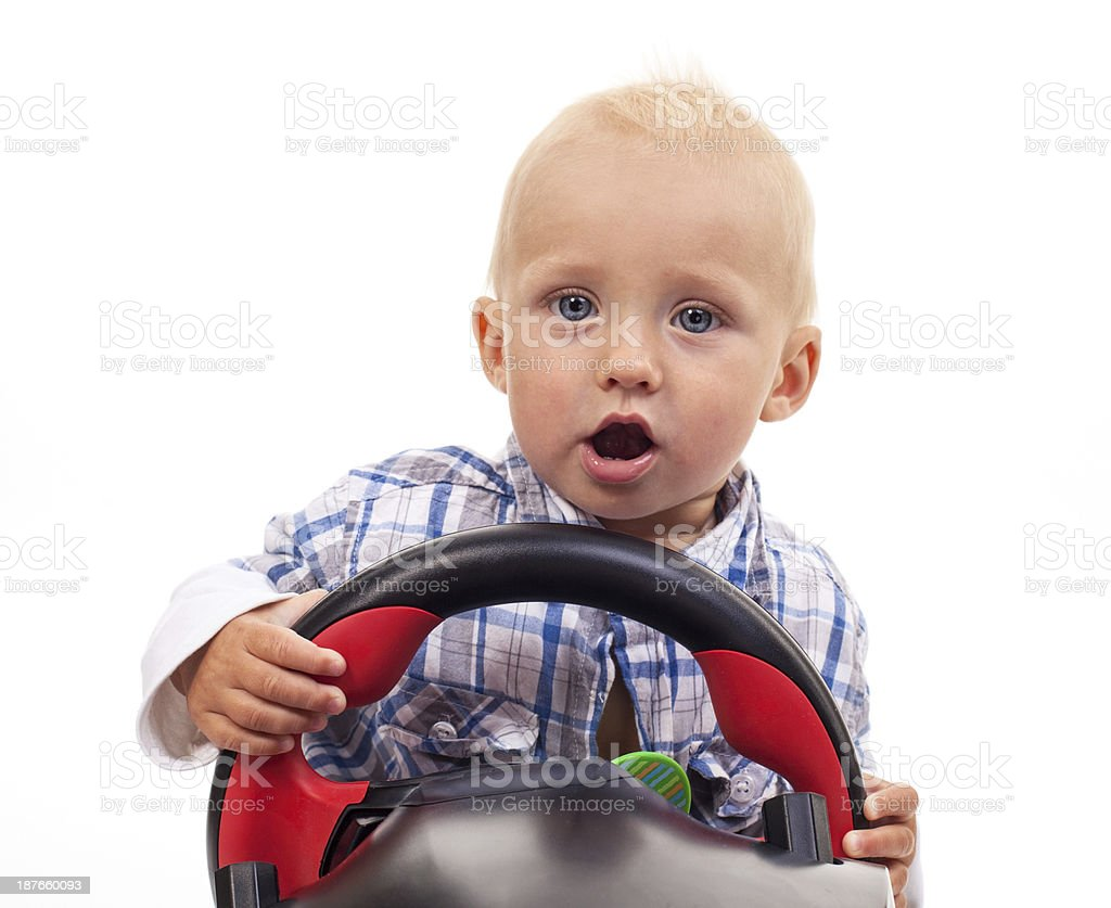 Little Boy Holding A Toy Steering Wheel Over White Stock Photo Download Image Now Istock