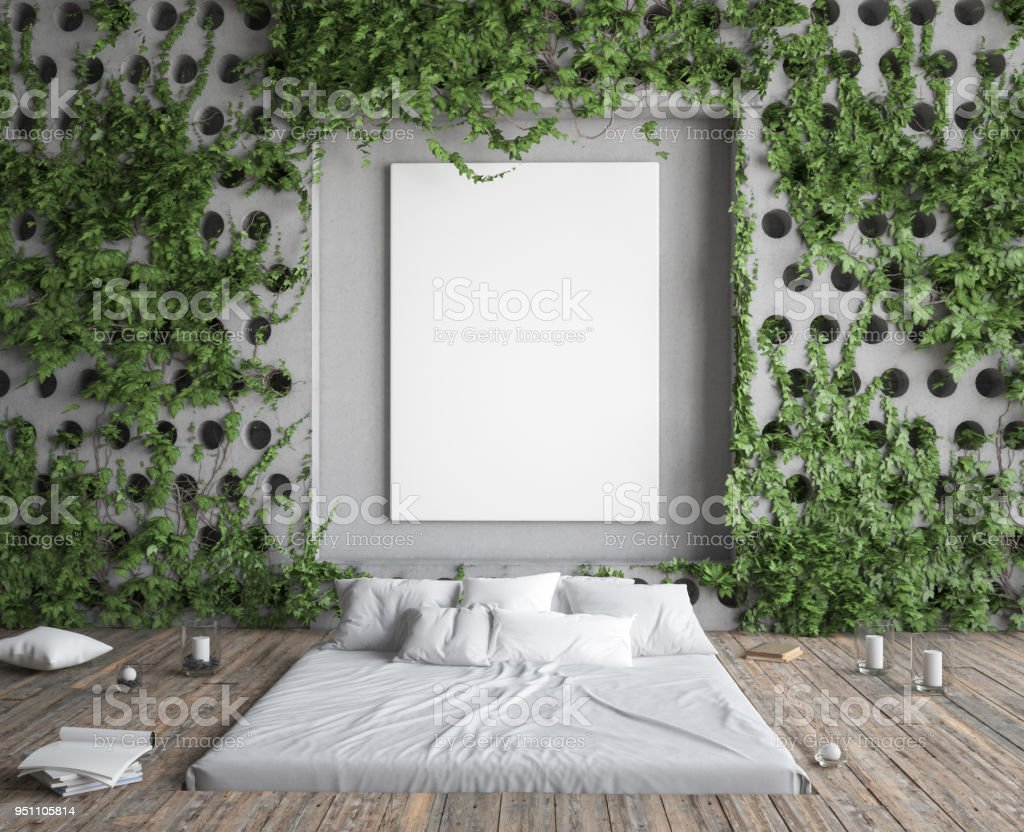 Camera Da Letto Hipster Mock Up Poster Frame In Hipster Bedroom Bed In Floor And Ivy On