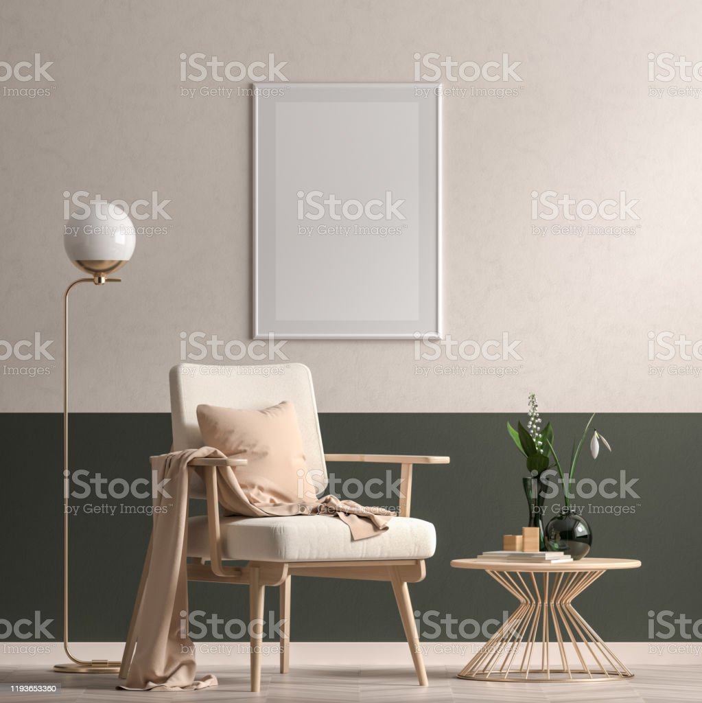 Mock Up Poster Frame In Scandinavian Style Interior With Modern Furnitures Minimalist Interior Design 3d Illustration Stock Photo Download Image Now Istock