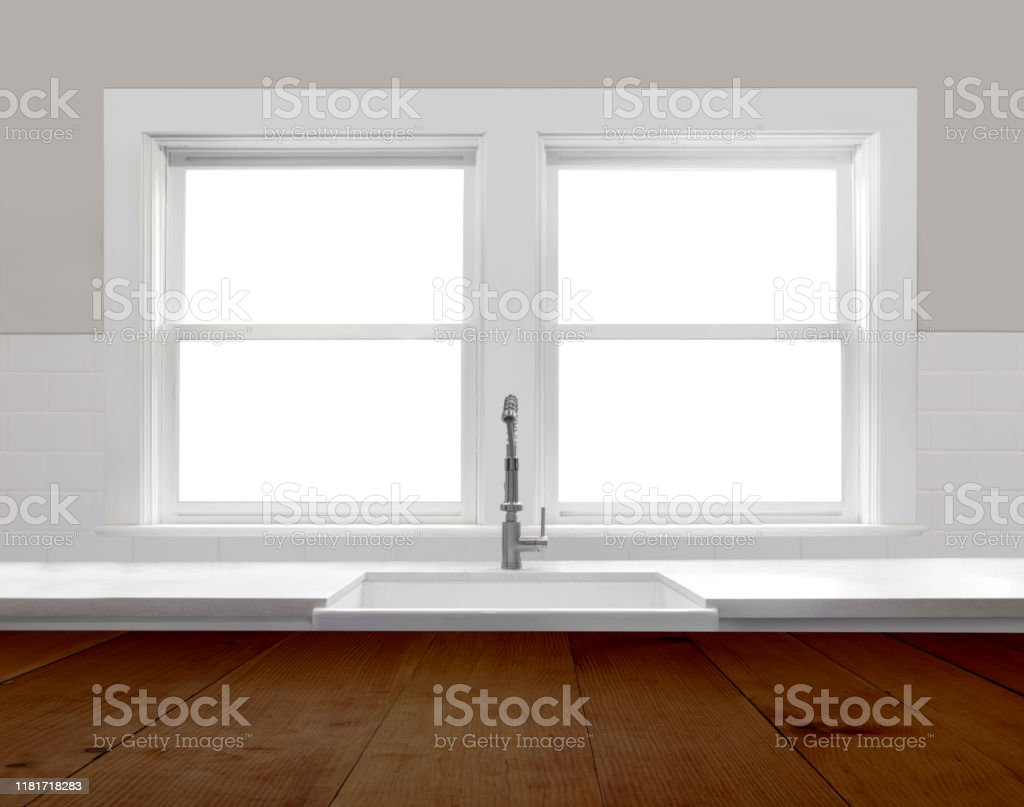 Modern Farmhouse Kitchen Interior Looking Out Windows With Subway Tile Rustic Island Countertop And Quartz Stock Photo Download Image Now Istock