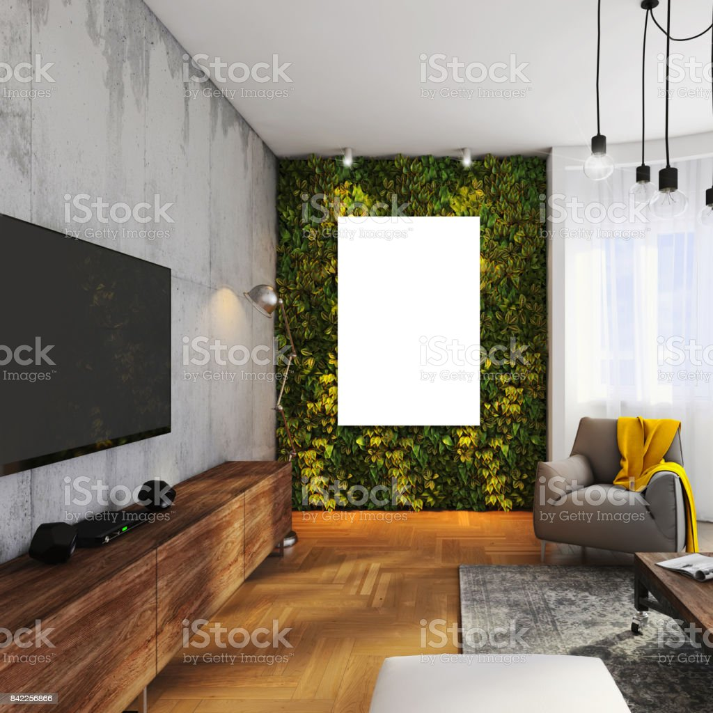 Wohnungspflanzen Modern Hipster Apartment Interior With Poster Frame Stock Photo