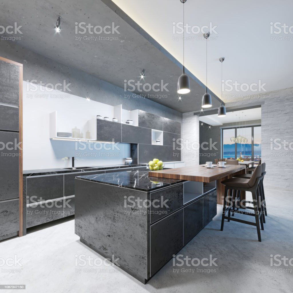 Modern Kitchen Long Kitchen Island With A Wooden Top Of The Bar With Chairs Stock Photo Download Image Now Istock