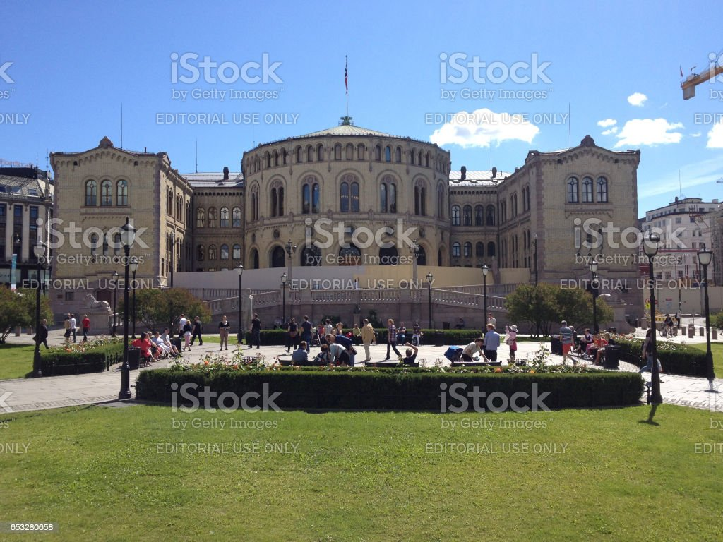 Norwegian Oslo Norwegian Parliament Storting Building In Oslo Norway Stock Photo