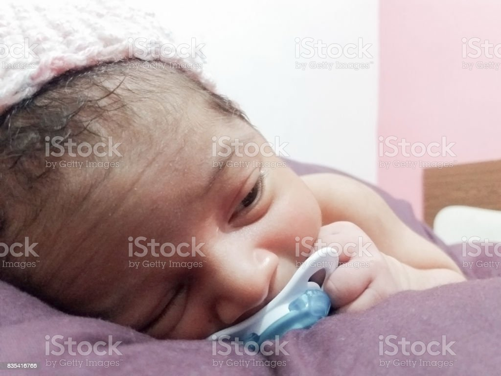 Newborn Babies For Dummies One Week Old Newborn Baby With Dummy Stock Photo Download