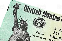 Partial View Of Us Treasury Irs Refund Check Stock Photo ...