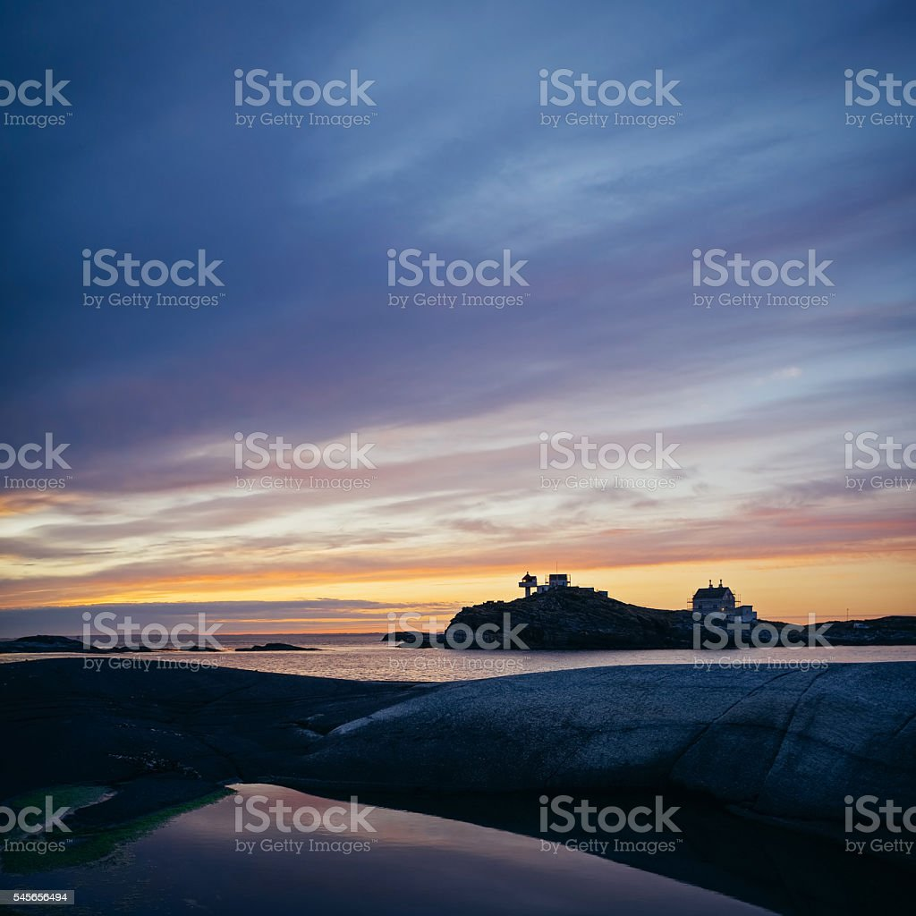 Lighthouse Background Picturesque Sunset Near Stavanger Norway Lighthouse Background