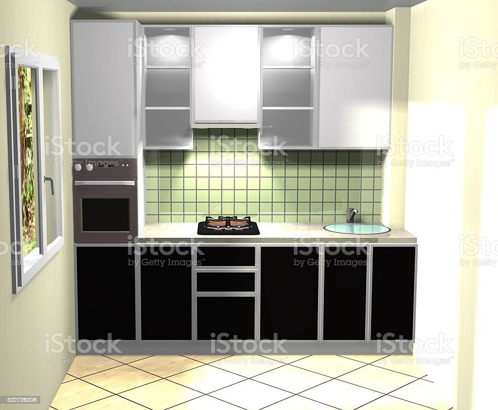 Commercial Kitchen 3d Design 3d Render Interior Design White Black Kitchen Stock Photo More
