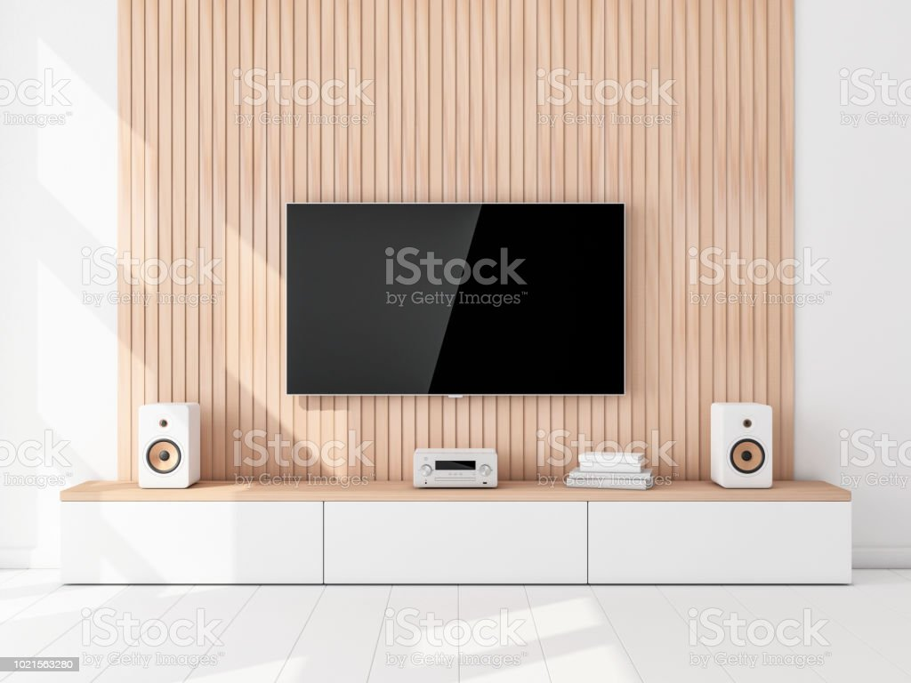 Hi Fi Tv Smart Tv Set Mockup Hanging On The Wooden Wall Hi Fi Stereo System