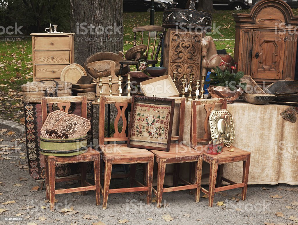Furniture Market Stand At An Outdoor Market With Antique Wooden Furniture Stock