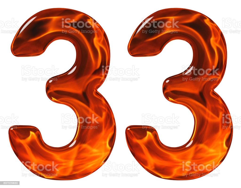 33 thirty three numeral imitation glass and a blazing fire royalty free