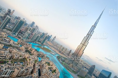 Tilted Aerial Shot Of Dubai City Skyline With Tower Of Dubai Stock Photo & More Pictures of ...