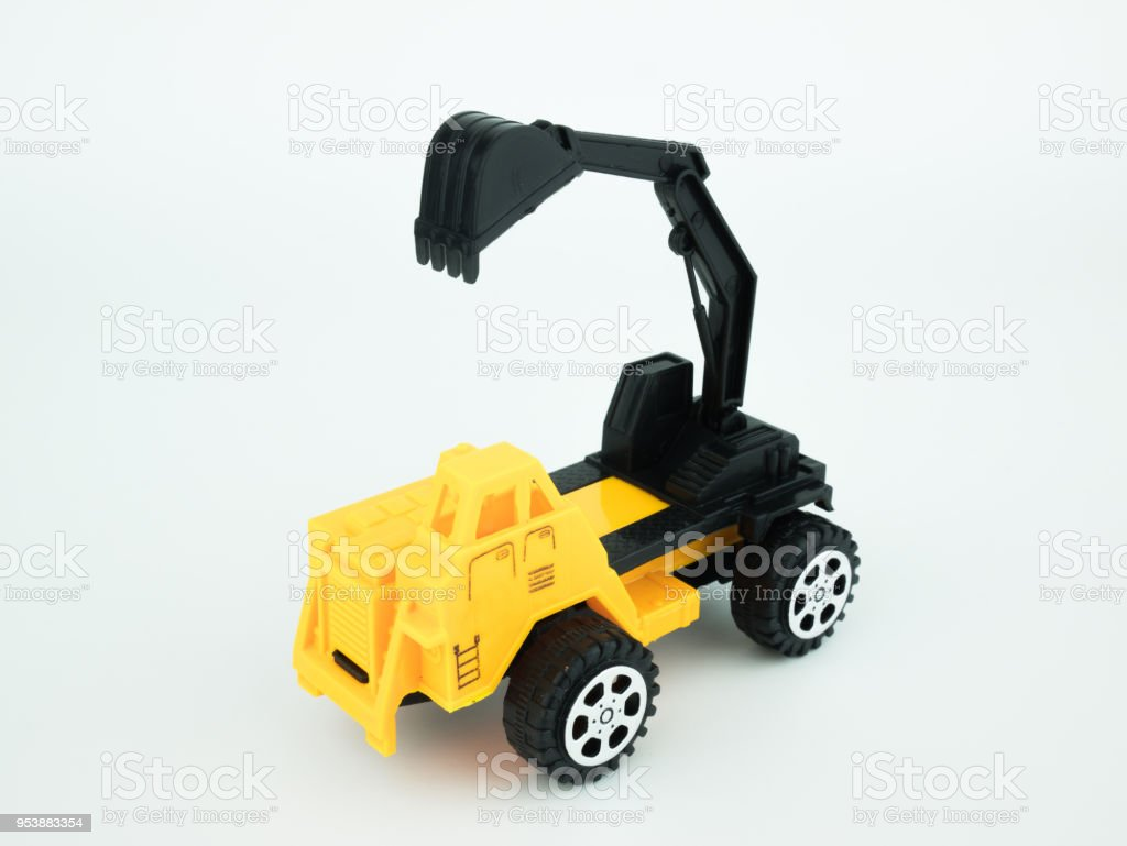 Digger Toy Toy Mechanical Digger On White Background Engineering Construction