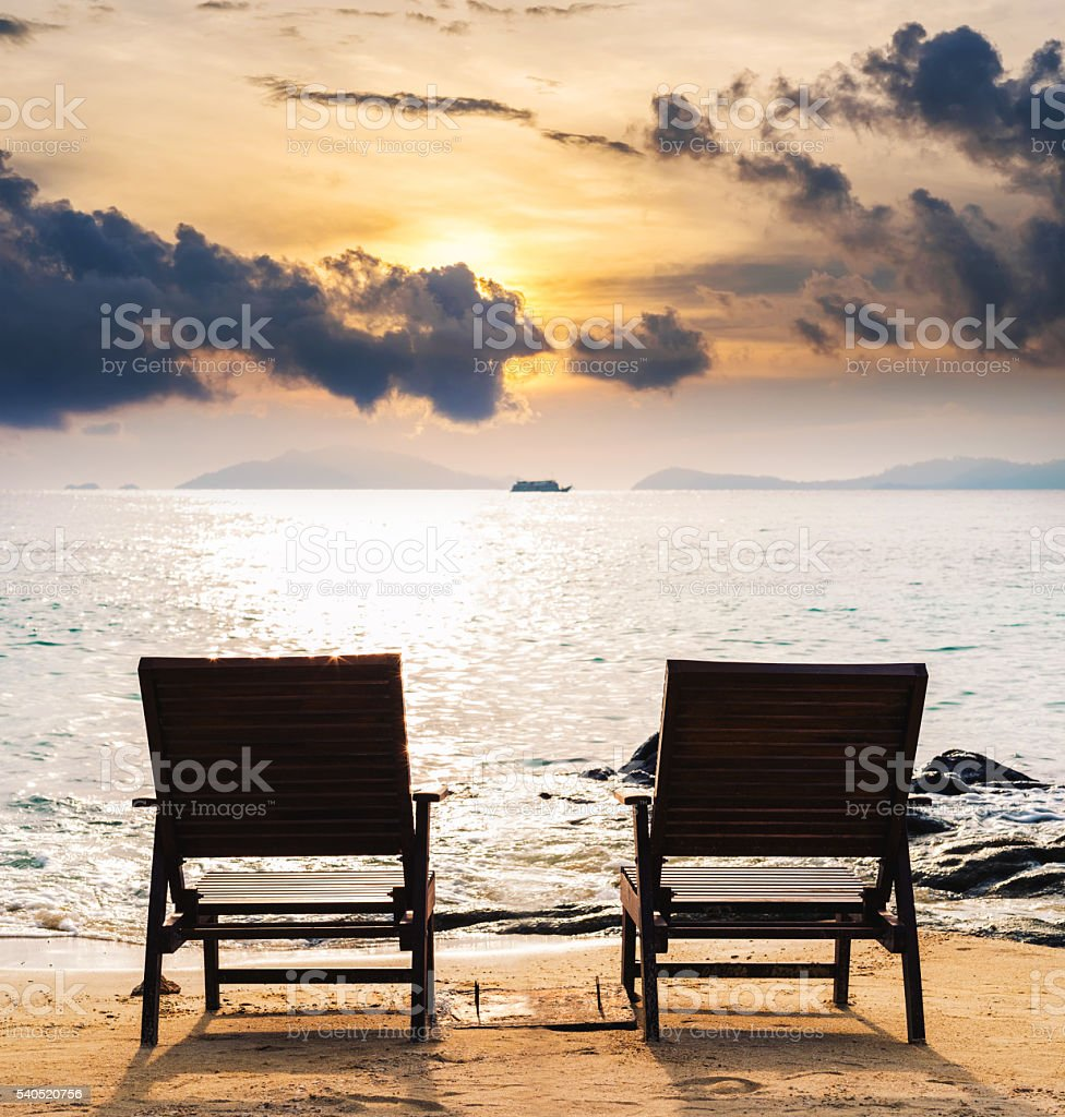 Two Chairs On The Beach In Sunset Couple Summer Holiday Stock Photo Download Image Now Istock
