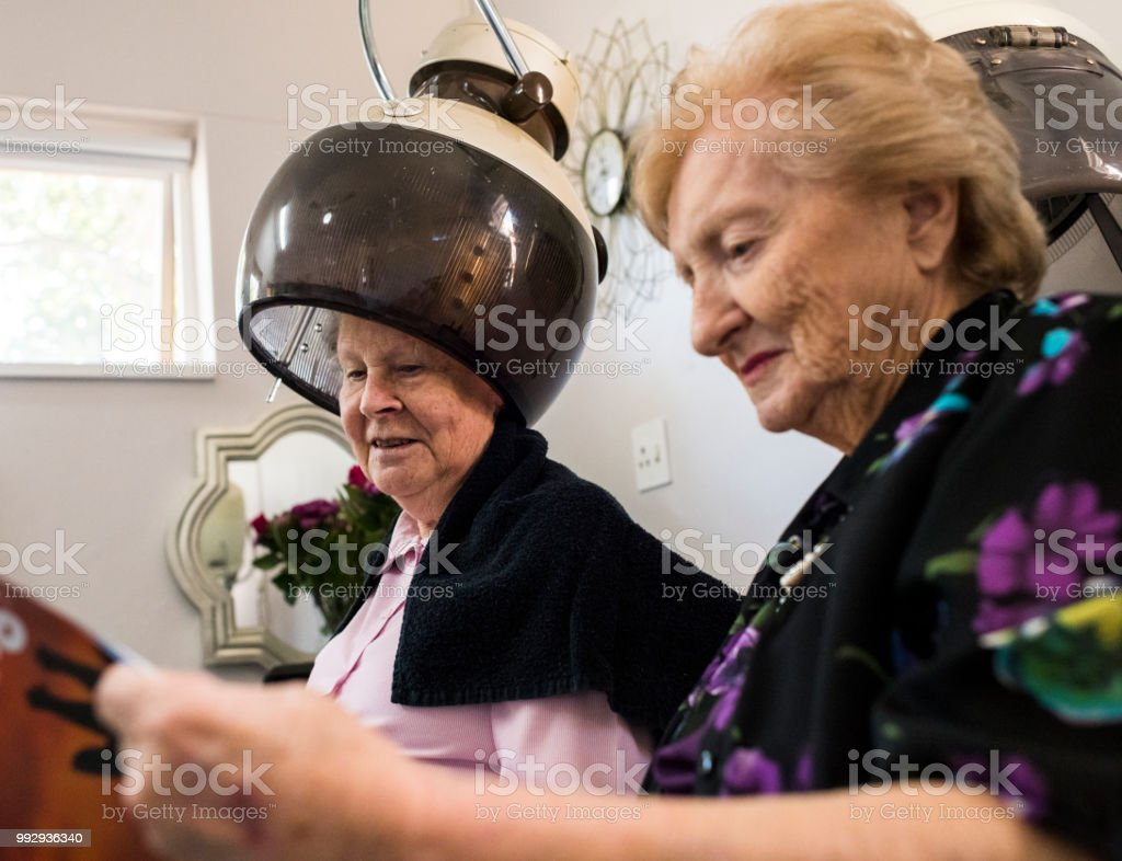 Salon Senior Two Senior Women In Hair Salon Stock Photo Download Image
