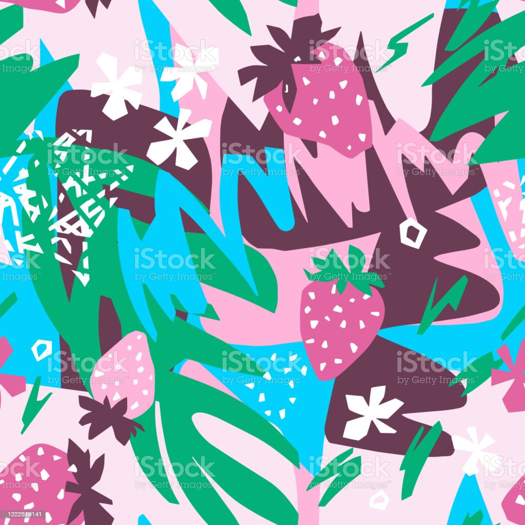 Abstract Floral Background Organic Shapes Plants Berry Doodles Cut Out Paper Design Collage Style Stock Illustration Download Image Now Istock