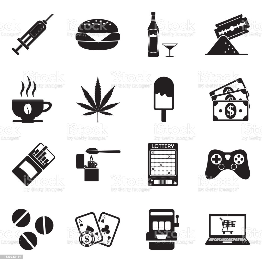 Bad Konsole Bilder Sucht Und Bad Habits Icons Black Flat Design Vector