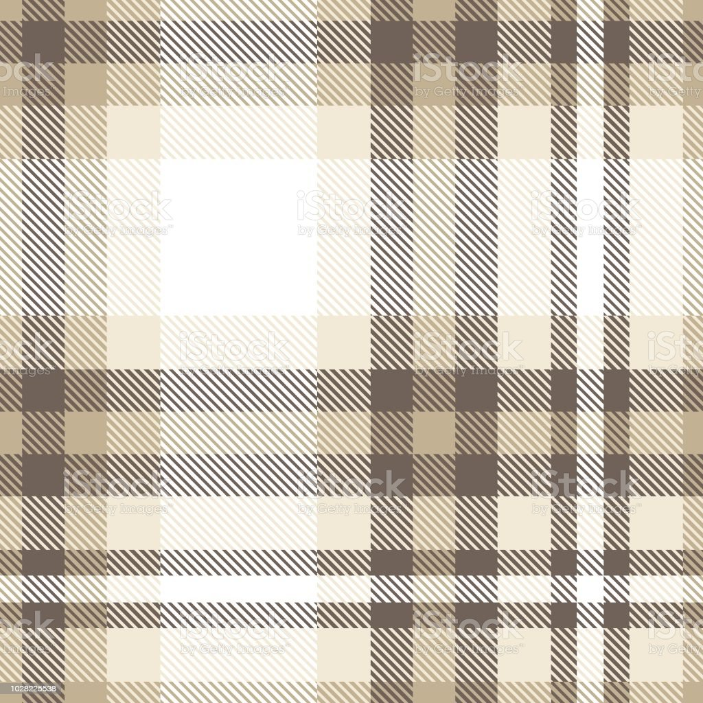 Plaid Taupe All Over Plaid Check Pattern In Taupe Beige And White Stock Vector