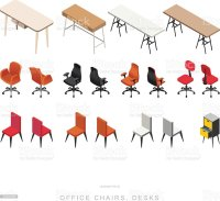Isometric Office Furniture Vector Collection. Isometric ...