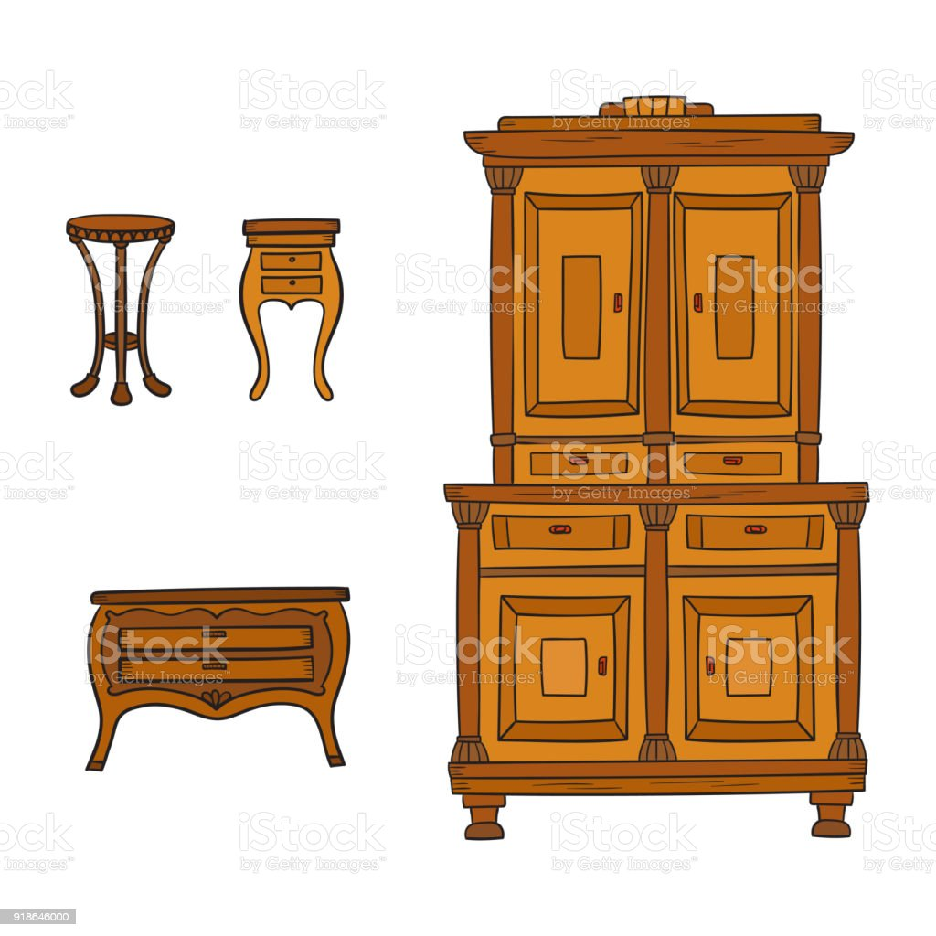 Antike Möbel Weiß Antique Furniture Set Closet Nightstand And Bureau Isolated On A