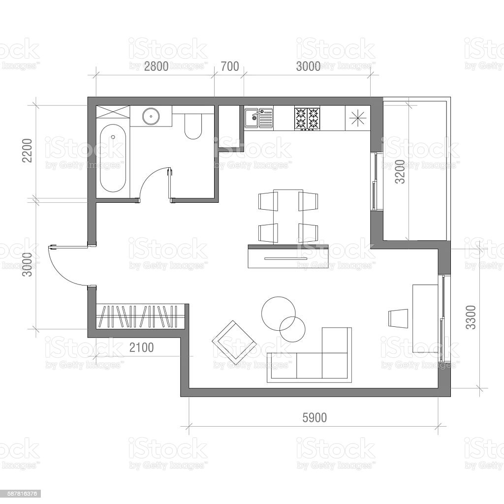Standaard Afmetingen Keuken Architectural Floor Plan With Dimensions Studio Apartment