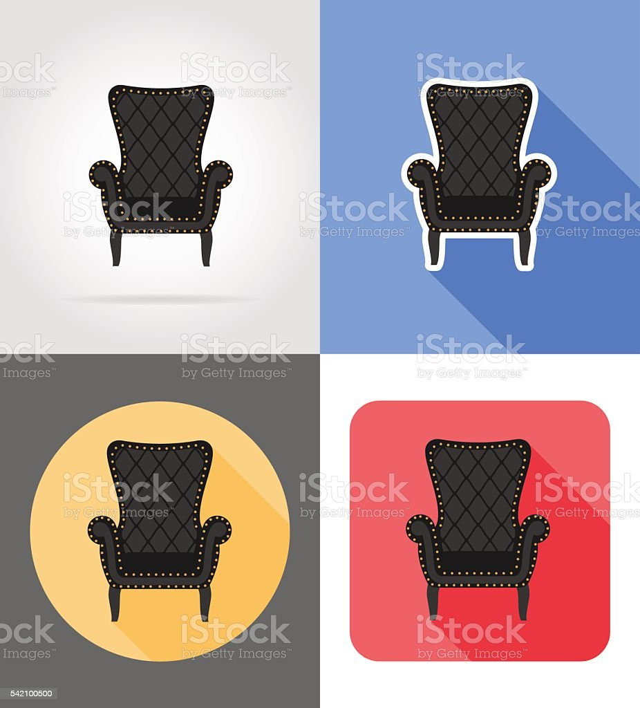 Möbel Sessel Armchair Furniture Set Flat Icons Vector Illustration Isolated On