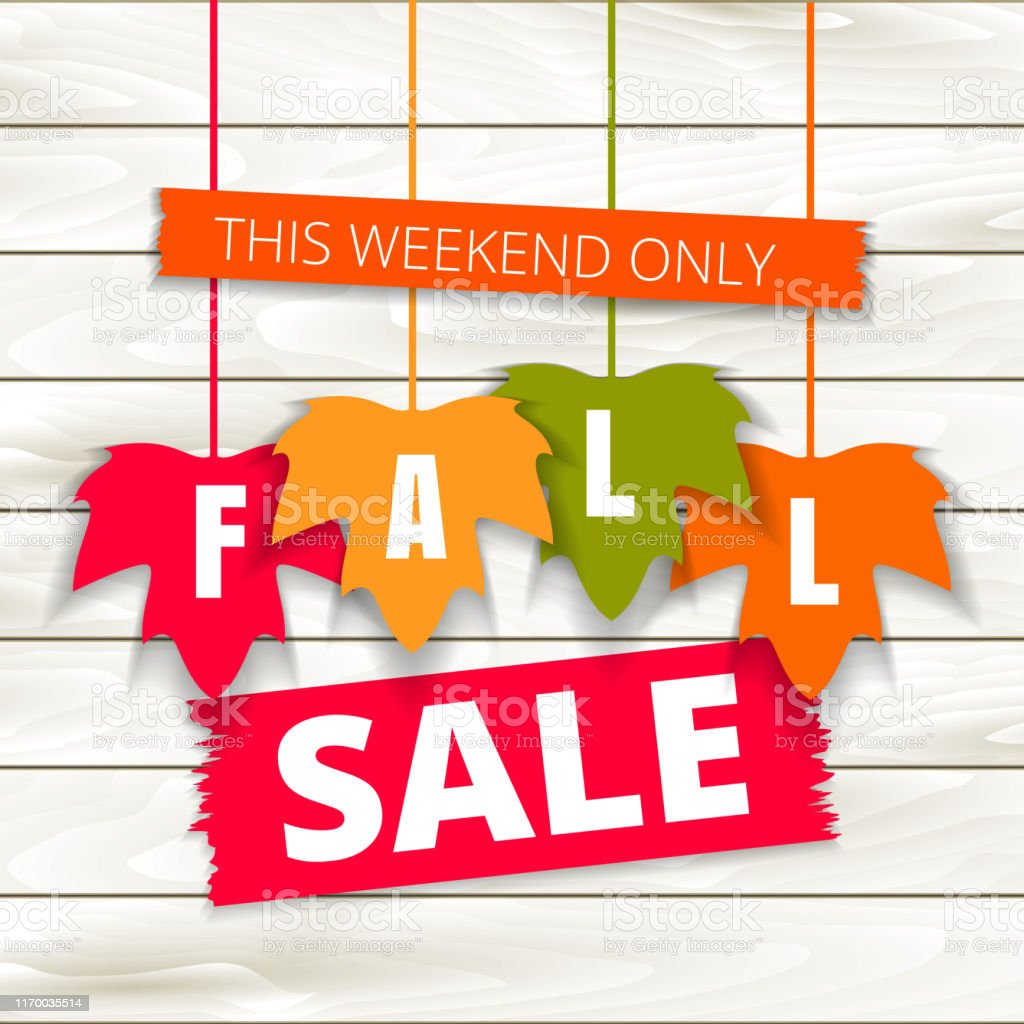 Autumn Sale Poster Of Discount Promo Web Banner For Fall Seasonal Shopping With Hanging Maple Leaf Vector Fall Leaf Sale Tags For Shop Market Poster Design Offer Template Advertising Stock Illustration -