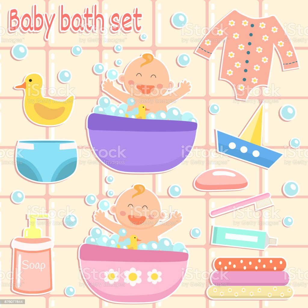 Bad Set For Baby Flat Design