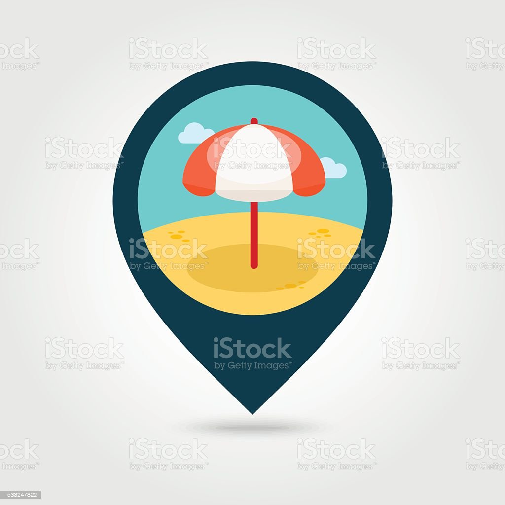 Parasol Pin Beach Parasol Pin Map Icon Summer Vacation Stock Vector Art More