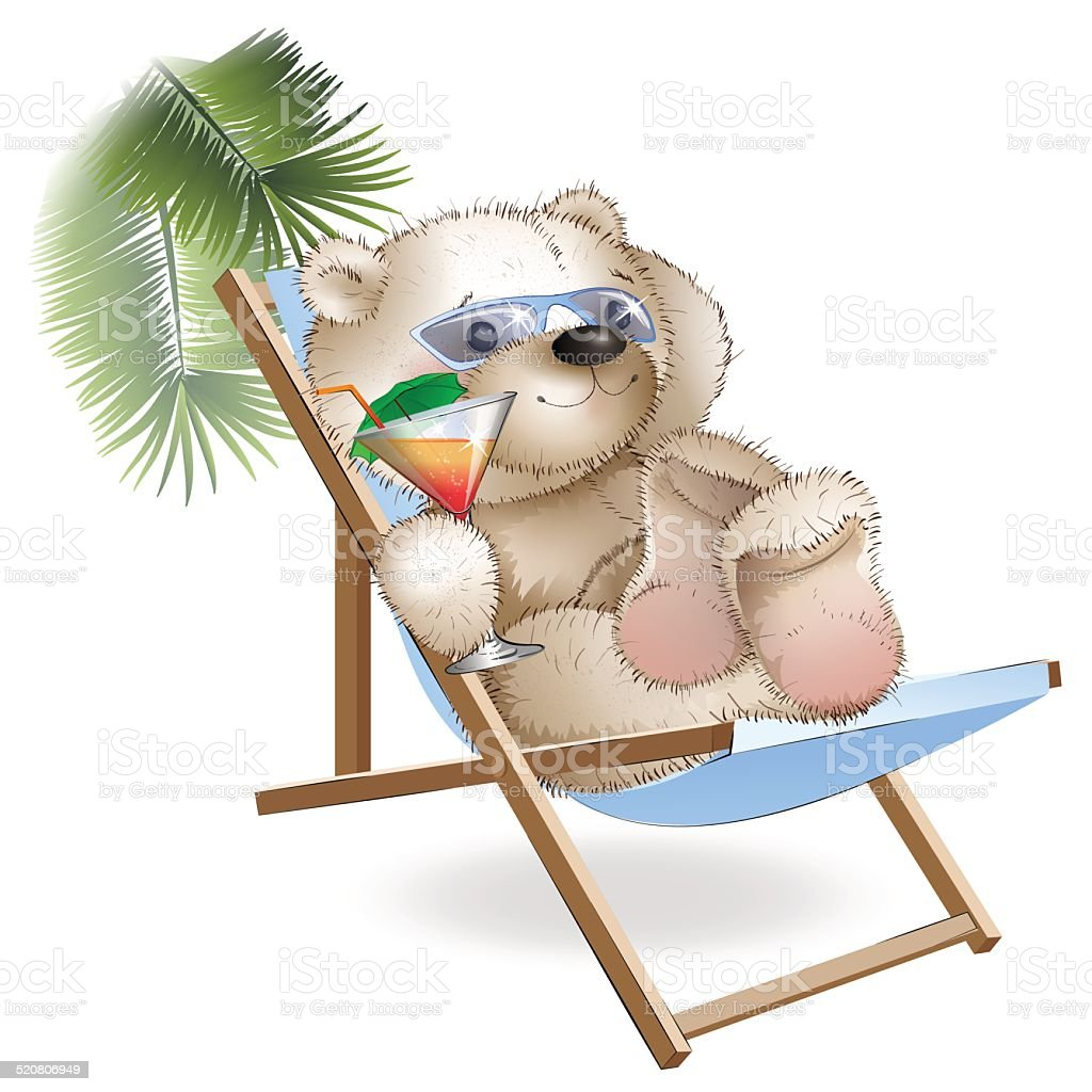 Sonnenliege Clipart Bear Lying Sun Loungers By The Sea Stock Vector Art More Images