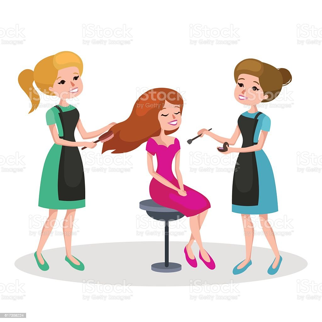Salon Sett Beautiful Woman In Beauty Salon Vector Illustration Stock Vector