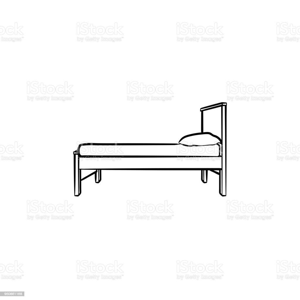 Outdoor Bubble Bett Bed With Pillow Hand Drawn Sketch Icon Stock Illustration