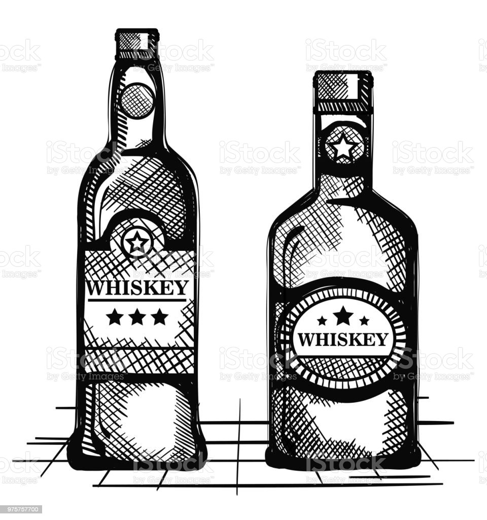 Whiskey Set Best Whiskey Set Bottles Drawn Vector Illustration Design