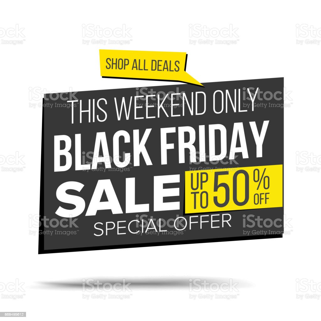 Black Friday Angebot Black Friday Sale Banner Vektor Spezielles Angebotverkaufbanner