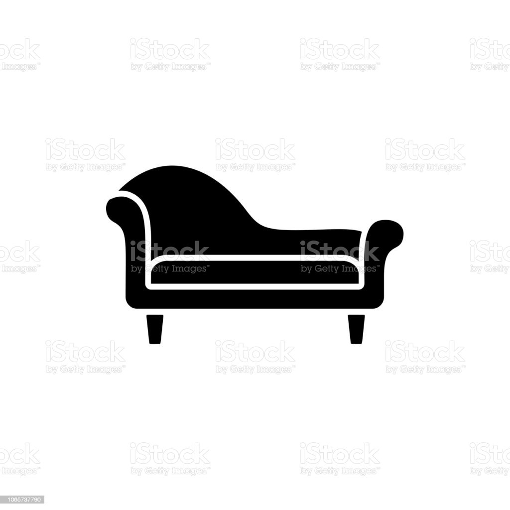 Chaiselongue Modern Black White Vector Illustration Of Chaise Lounge Sofa Flat Icon Of