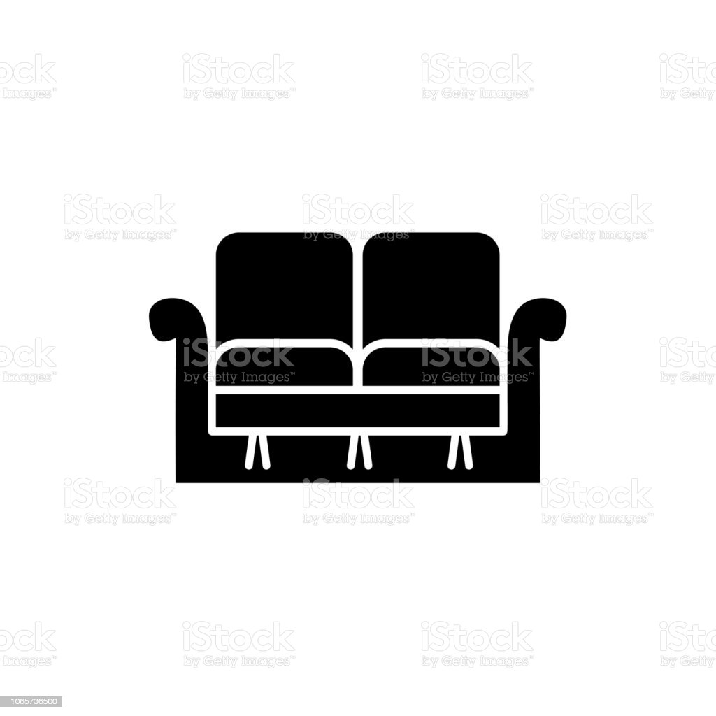 Canape Noir Blanc Black White Vector Illustration Of Loveseat Double Sofa Flat Icon