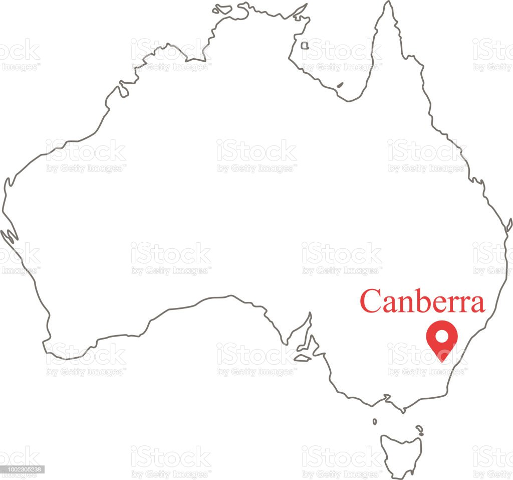 Map Of Canberra Blank Outline Map Of Australia Border Vector Illustration And