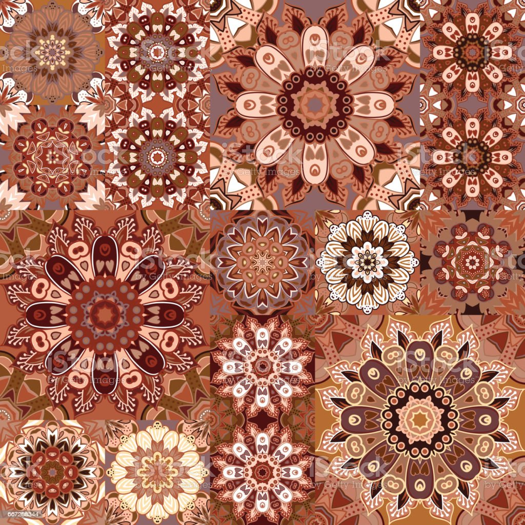 Arabische Teppiche Brown Vintage Seamless Pattern With Floral And Mandala Elements Hand