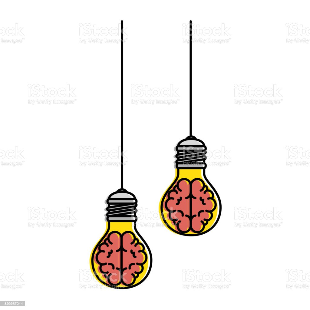 Lampen Und Licht Bulbs Light With Brains Hanging Icon Vector Illustration Design