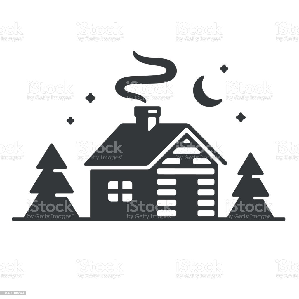 Cabine Bois Log Cabin In Woods Icon Simple Wooden Cottage At Night Vector