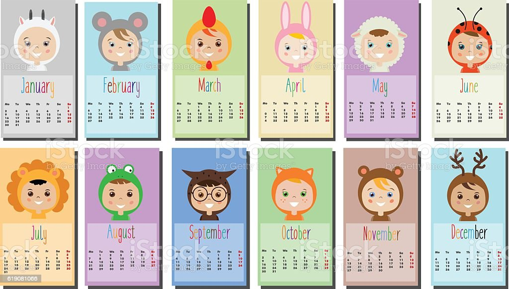 How To Make A Calendar Kids Craft Making Calendars Activities Crafts For Kids Teens Calendar With Kids In Party Outfit Children In Animal