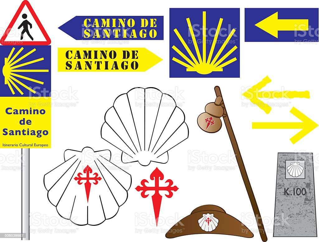 Camino De B Camino De Santiago Signs And Symbols Stock Vector Art More