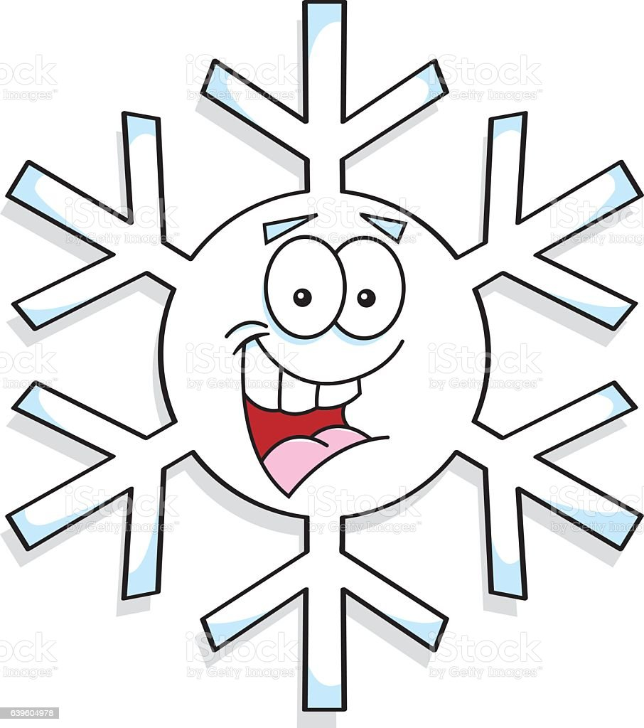 Etoile De Neige Dessin Cartoon Snowflake Smiling Stock Vector Art & More Images