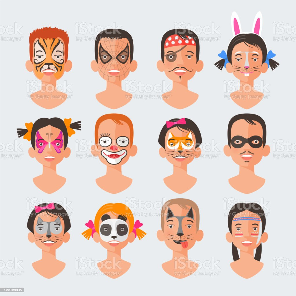 Pinturas Carnaval Para Cara Children Face Painting Set Vector Illustrations Stock Vector Art